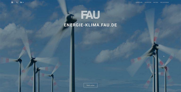 Screenshot der Seite energie-klima.fau.de
